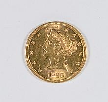 1880-S $5 GOLD MS-64+ SCARCE DATE