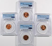 2-1955-S, 2-1957-D LINCOLN CENTS PCGS RD + QA APPROVED