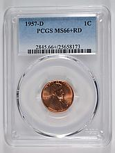 1957-D LINCOLN CENT PCGS MS66+ RD