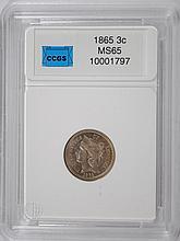 1865 3-CENT NICKEL, CCGS GEM, CIVIL WAR ERA COIN!