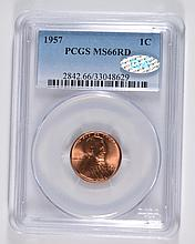 1957 LINCOLN CENT PCGS MS66 RD, QA APPROVED