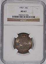 1957 WASHINGTON QUARTER NGC MS 67