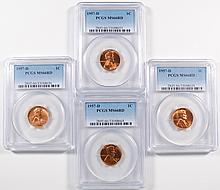 4-1957-D LINCOLN CENTS PCGS MS66 RD