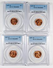 4- 1957-D LINCOLN CENT PCGS MS66 RD