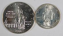 2 MODERN SILVER COMMEMS 1982 GEORGE WASHINGTON HALF, & 1986 LIBERTY DOLLAR