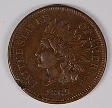 1865 INDIAN HEAD CENT, AU CHOCOLATE BROWN COLOR WITH PLANCHET FLAW