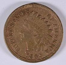 1862 INDIAN HEAD CENT, XF+