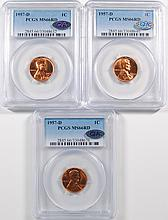 3-1957-D LINCOLN CENTS PCGS MS66 RD + QA APPROVED