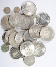 ( 23 ) FOREIGN COINS ( MOSTLY LARGER COINS )  COINS WEIGH OVER 395g