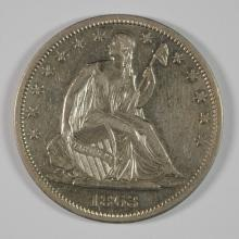 1863-S SEATED LIBERTY HALF AU/BU SCARCE DATE