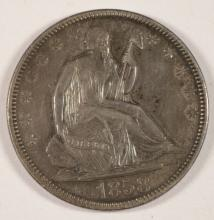 1858 SEATED LIBERTY HALF DOLLAR AU NICELY TONED