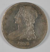 1838 REEDED EDGE CAPPED BUST HALF DOLLAR XF/AU