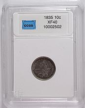 1835 BUST DIME CCGS GRADED XF