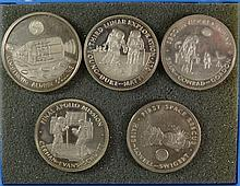 5- FRANKLIN MINT STERLING SILVER SPACE MEDALS 3.5 TROY OZ