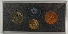 1970 EXPO '70 OSAKA JAPAN GOLD/SILVER COPPER MEDAL SET IN CASE, GOLD IS 18KT AND