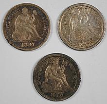 3 SEATED LIBERTY DIMES 1853 ARROWS VF, 1857-O XF, & 91 XF