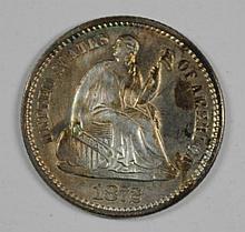 1872 SEATED LIBERTY HALF DIME AU/BU
