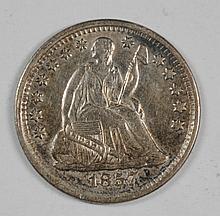 1857 SEATED LIBERTY HALF DIME XF
