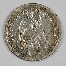 1853-O SEATED LIBERTY HALF DIME XF