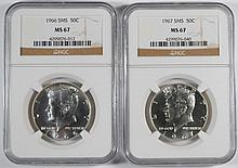 1966+67 SMS KENNEDY HALF DOLLARS NGC MS67