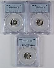 LOT OF ( 3 ) 1946-S ROOSEVELT DIMES, PCGS  MS-66 FULL BANDS