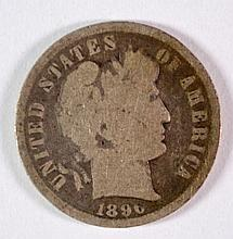 1896-S BARBER DIME G KEY COIN