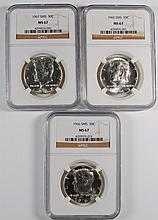1965,66,67 SMS KENNEDY HALF DOLLARS NGC MS67 3 COIN SET