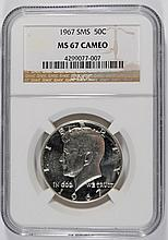 1967 SMS KENNEDY HALF DOLLAR NGC MS67 CAMEO