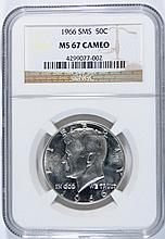 1966 SMS KENNEDY HALF DOLLAR NGC MS67 CAMEO