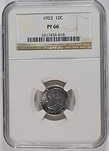 1953 ROOSEVELT DIME, NGC PROOF-66