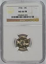 1936 MERCURY DIME, NGC MS-66 FULL BANDS, NGC PRICE GUIDE=$125.00
