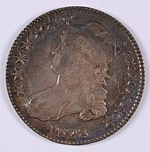 1828 BUST HALF DOLLAR, AU-58  LUSTER, NICELY TONED