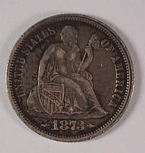 1873 ARROWS SEATED LIBERTY DIME XF