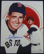 TED WILLIAMS AUTOGRAPHED 8x10 COLOR PHOTO, COA by GAI