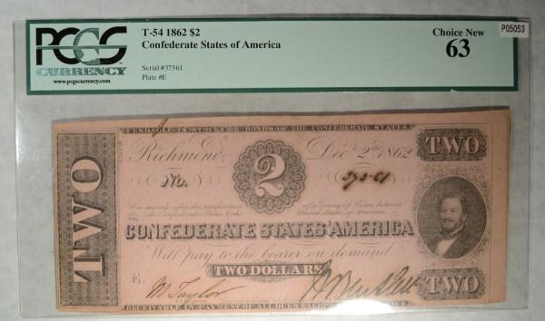 1862 $2 Confederate States of America T54 PCGS63 Est $300-$325