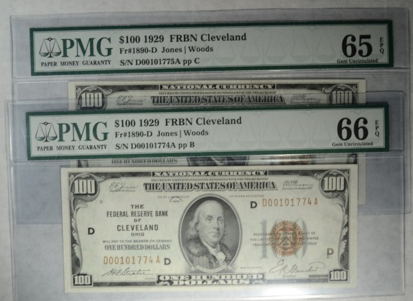 THIS IS RARE:2 1929 $ Cleveland FR bank notes consecutive # PMG 65 and 66