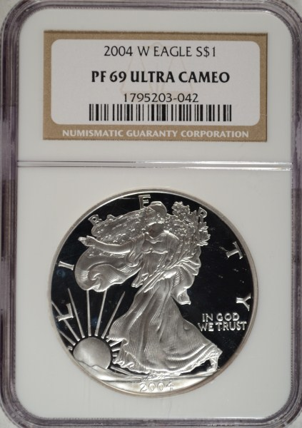 2004W proof silver Eagle NGC PF69 ULTRA CAMEO est $65-$70