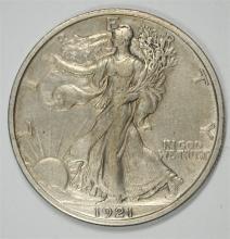 1921-D WALKING LIBERTY HALF DOLLAR AU ORIGINAL GREY PATINA, RARE KEY!