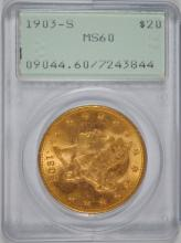 1903-S $20 GOLD LIBERTY PCGS MS60 1ST GENERATION 'OLD RATTLER' SLAB