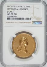1861 OATH OF ALLEGIANCE MINT MEDAL NGC MS 67 BN