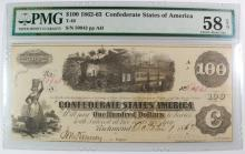1862-63 $100 CONFEDERATE STATE AMERICA CURRENCY, T-40 #50943 PMG 58 EPQ
