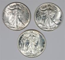 ( 3 ) 1942 WALKING LIBERTY HALF DOLLARS, CHOICE BU