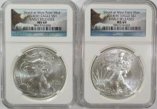 2 - 2014-W (Struck at West Point) AMERICAN SILVER EAGLE, NGC EARLY RELEASES MS69