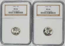 1942 & 1943 MERCURY DIMES, NGC MS66