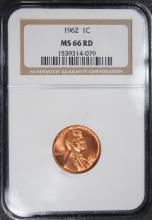 1962 LINCOLN CENT NGC MS-66 RD