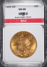 1908 NM $20.00 St Gaudens GOLD BGC Superb Gem