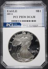 1987-S AMERICAN SILVER EAGLE PCI GRADED PERFECT PROOF DCAM