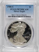1988-S PROOF AMERICAN SILVER EAGLE, PCGS PR-70 DCAM  RARE!!