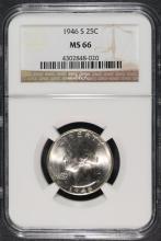 1946-S WASHINGTON QUARTER, NGC  MS-66  CHERRY