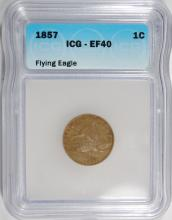 1857 FLYING EAGLE CENT ICG EF-40